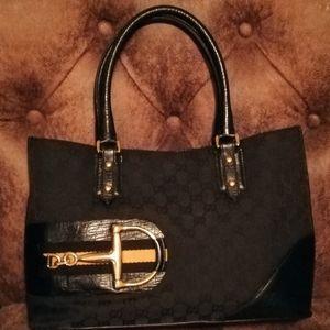 Gucci Black GG Hasler Tote Bag